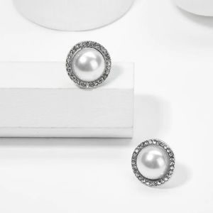AUDREY Faux Pearl and Rhinestone Stud Earring